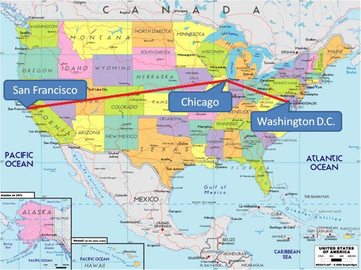 Populares Chicago no mapa dos eua - Chicago no mapa dos EUA (Estados Unidos  UV73