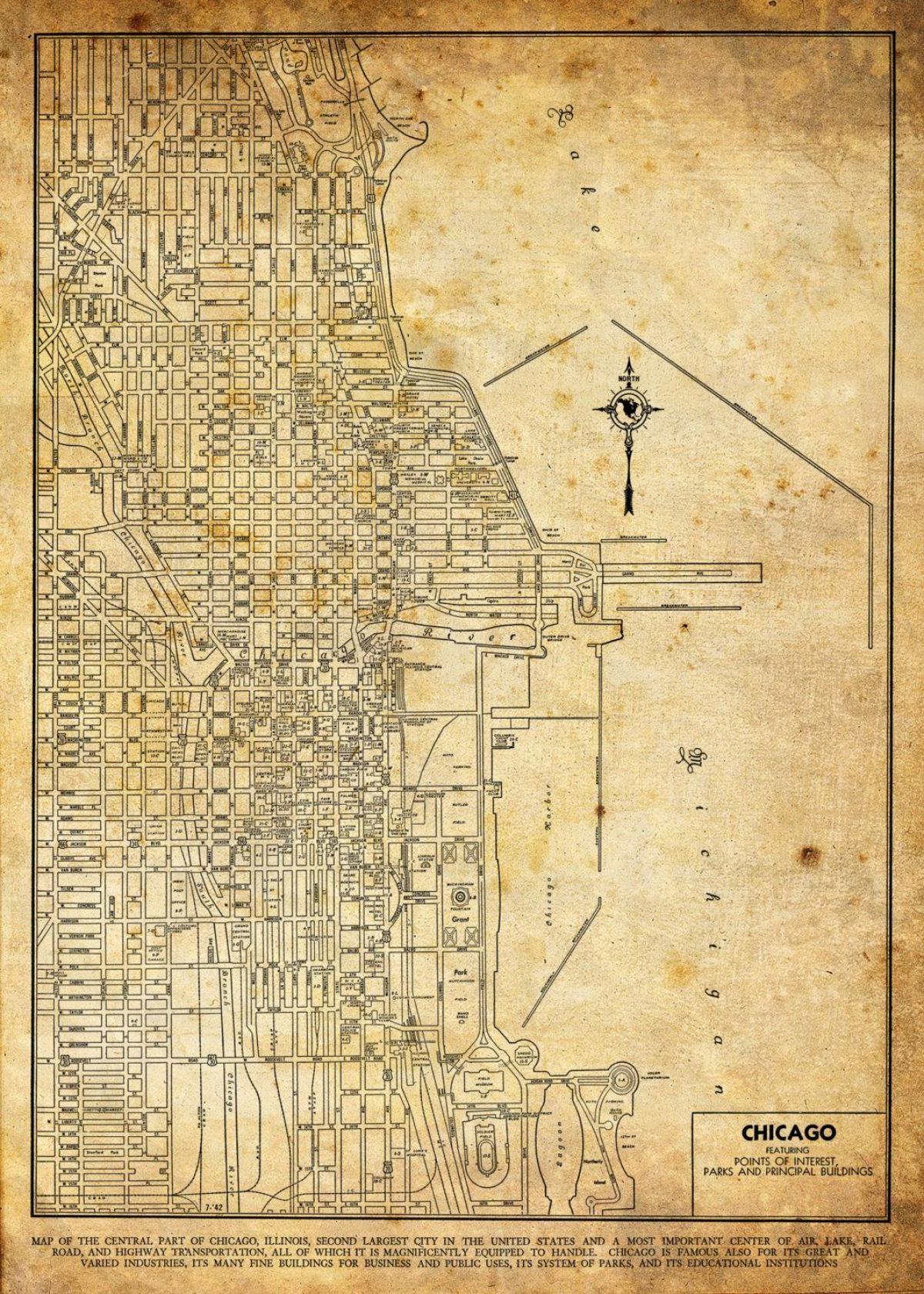 Vintage Chicago Mapa Vintage Mapa De Chicago Estados Unidos Da - Mapa de illinois